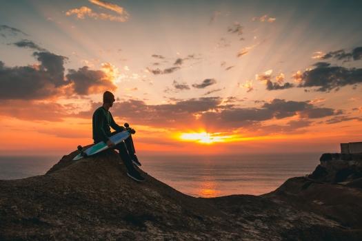 Skater boy at sunset